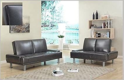 Furniture2go UFE-1405 Lorena Metallic Dark Gray Futon Sofa + Loveseat - Synthetic PU Leather