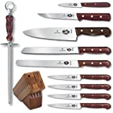 Victorinox 11-Piece Knife Set with Block, Rosewood Handles