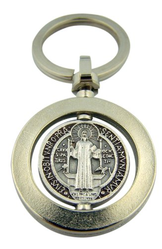 saint-st-benedict-medal-silver-tone-base-with-brown-enamel-travel-protection-revolving-keyring