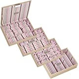 STACKERS Set of 4 'CLASSIC SIZE' - Cream STACKER Set of 4 Jewellery Box with Striped Lining