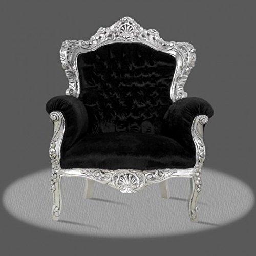 Barocco poltrona Armlehner Vintage stile antico rococò fogli argento rivestimento nero