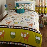 DOUBLE BED DUVET COVER & 2 PILLOW CASES SET WOODLAND CREATURES, OWLS, FOX, FLOWERS / TREES, BROWN, ORANGE, GREEN