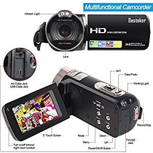 "Camera camcorders, Besteker Portable 1080P 24MP Digital 16X Digital Zoom Video Camcorder with 2.7"" LCD and 270 Degree Rotation"