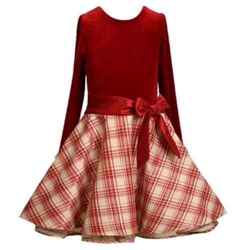 Bonnie Jean Girl PLUS SIZE RED IVORY METALLIC GOLD VELVET SHANTUNG PLAID Special Occasion Holiday Party Dress-18.4 BNJ-7545X-X87545