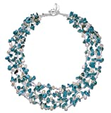 "HinsonGayle ""Sienna"" 4-Strand Handwoven Freshwater Cultured Pearl and Turquoise Necklace"