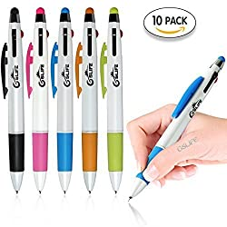 GSlife Multifunctional Stylus Pen,Multi Color 3-Color Ink(Black,Red,Blue)in One Ballpoint Pen,for Touchscreen Device,iPhone 6 6S Plus 5 5S Tablet,Pink Orange Green Blue Black,5 Colors/10 Pack