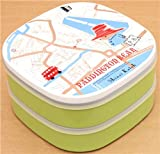 Green Paddington Bear London map Bento Box Lunch Box