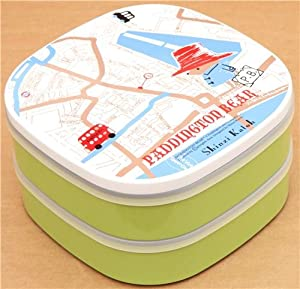 green paddington bear london map bento box lunch box office products. Black Bedroom Furniture Sets. Home Design Ideas