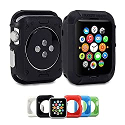 Apple Watch Case GMYLE Rugged Shock Resist Protection Armor Soft Silicone Rubber Case for Apple Watch 38mm - Matte Black Matte Black Apple Watch 38mm