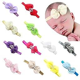FEITONG 12PC Baby Newborn Toddler Elastic Headband Chiffon Bow Photography Headbands (12 Colors#A)