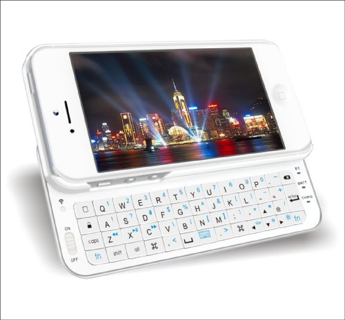iPhone 5用 bluetoothバックライト付きスライドキーボードiPhone5対応ZH-IP-BSK5-WHホワイト