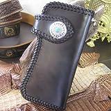 本革 ロングウォレット 長財布 かがり縫い 黒
