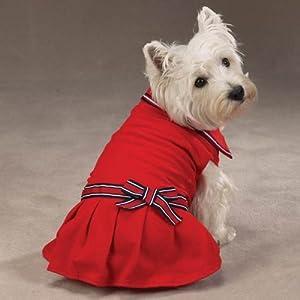XXS Preppy Red Nautical Polo Dress for Dogs