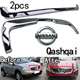 GOOACC®Chrome Front Grille Around Trim Fit Exterior 2pcs for 2008 2009 Nissan QASHQAI