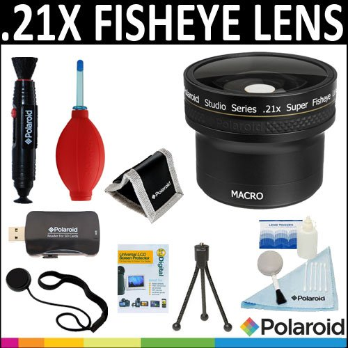 Polaroid Studio Series .21X HD Super Fisheye Lens + Cleaning & Accessory Kit For The Pentax Q Digital SLR Cameras Which Has Any Of These (5-15mm, 9mm) Pentax Q Lenses