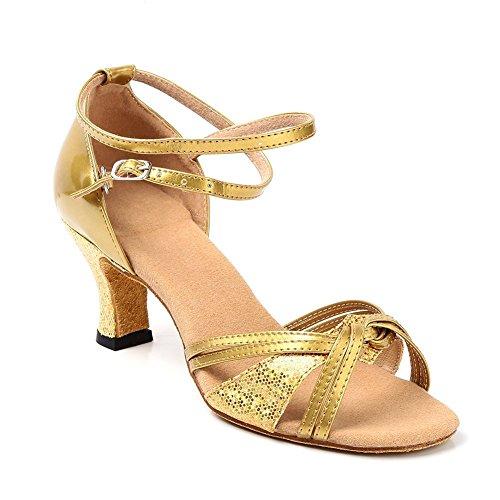 Minetom Donne Elegante Sandali Danza Scarpe In Mezzo Tacco Sandali Con Strappy Fibbia Estate Latino Tango Oro 37