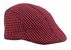 Modo Vivendi | Mens Womens Tweed Flat Cap | Berets Hat Farmer Unisex Golf Cap Classic (Red + Black)