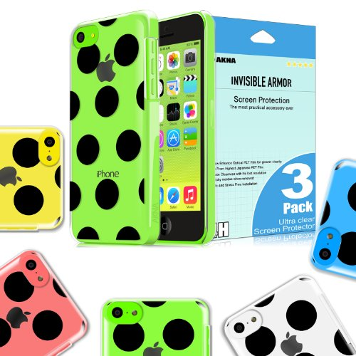 [New Release]Akna Jelly Defense Series Transparent Hybrid Clear Hard Snap On Black Polka Dots Back Case for iPhone 5C [Bella] eco-friendly Packing