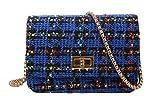 (ユッカル)YUCCALU ツイードバッグ 斜めがけ ショルダー バッグ 2way ポーチ ポシェット レディース 入れたまま 多収納 多機能 サブバック 旅行 貴重品 スマホ コンパクト パーティー バッグ クラッチ バッグ きれいめ かわいい おしゃれ (Blue)