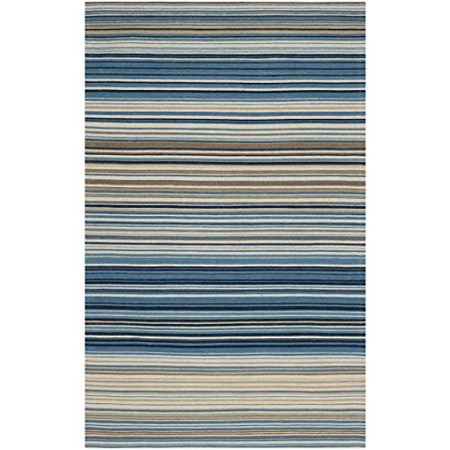 Safavieh Marbella Collection MRB289A Hand Woven Blue and Multi Wool Area Rug, 9 feet by 12 feet (9' x 12')