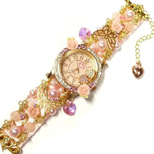 姫系ピンク薔薇&バタフライ&リボンのブレスウオッチ金腕時計【結婚式やパーティードレスなど可愛い洋服を着る機会に!アクセサリーRose&Cross】