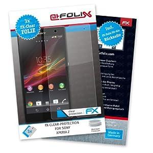 atFoliX FX-Clear Protection d'écran pour Sony Xperia Z (3 pièces) - avec face avant et dos! protection d'écran ultra-claire! La plus haute qualité