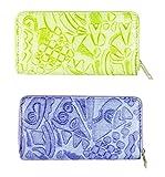 FAE Women's Wallet multi colour set of 2 by JDK NOVELTY - (Set2BGW3857GreenBlue)