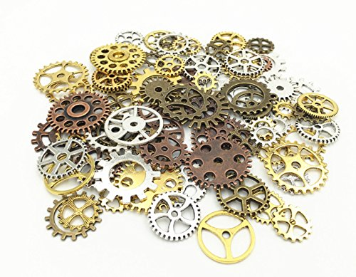 HuanX35 100 Gram DIY Assorted Antique Cog Wheel Steampunk Gears Charms Pendant Clock Watch Wheel Gear for Crafting Jewelry Making Accessory(Assorted color) (Jewelry Making Case compare prices)