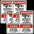 "SECURITY SIGNS - 4 Pack Home & Commercial 3"" x 5"" English & Spanish Alarm Sign, Surveillance Video CCTV Warning! Deterrence Decals"