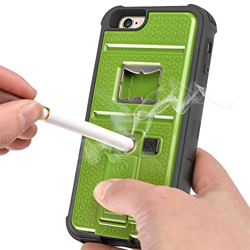 Newly High Quality ZVE® Multifunctional Cigarette Lighter Cover for iPhone 6 Plus 5.5 Built-in Cigarette Lighter/Bottle Opener/Camera Stable Tripod/Shockproof Case (Green-iPhone 6 plus 5.5)
