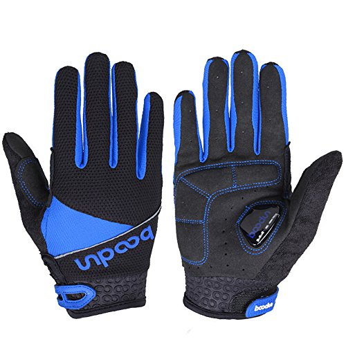 Ezyoutdoor Full Finger Breathable Riding Gloves with Shock-absorbing Gel Silicone Pad for Cycling Bicycle Riding Skiing (Blue, M)