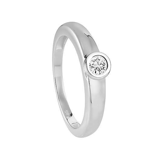 Diamond Line Solitaire Women's Ring 585 White Gold Diamond (0,15 Carat Brilliant Cut Diamonds, 1170 White) white