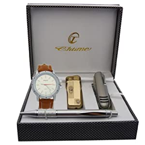 Montre Concept - Gift Box CBC - lighter - multifunction knife - pen - men's Analog Watch - Camel Synthetic Strap / Bracelet - Round Dial Silver Color Background