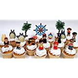 TOTORO and FRIENDS 18 Piece Birthday CUPCAKE Topper Set Featuring 14 Random Totoro and Friends Figures - Decorative Themed Accessories, Figures Average 1