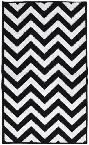 Garland Rug Chevron Area Rug, 5 By 7-Feet, Large, Black/White front-943283