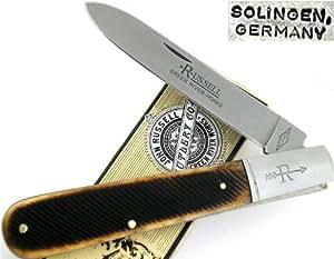 Russell Knives 14 Grandaddy Barlow Pocket Knife with Brown Sawcut Bone Handles