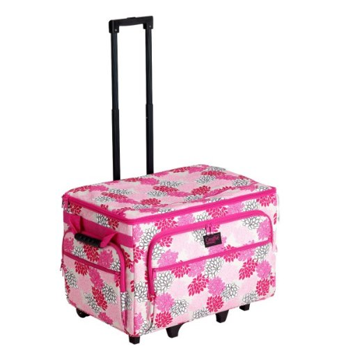 Creative Notions Xx-Large Sewing Machine Trolley In Pink Gray Floral Print front-266921
