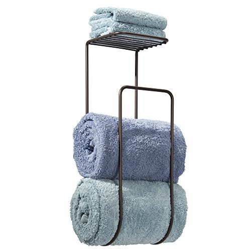 Mdesign Wall Mount Towel Holder With Shelf For Bathroom Bronze Home Garden Accessories