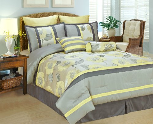 Yellow Gray Bed In A Bag : Pieces jacquard big yellow light gray peony bed in a bag