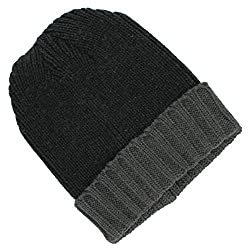 Croft & Barrow Knit Beanie Winter Hat Colorblock Dark Grey/ Grey One Size