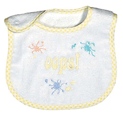 Raindrops Oops Embroidered Bib, Yellow