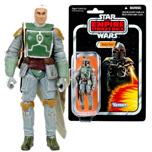 "Hasbro Year 2010 Star Wars Vintage Kenner Reproduction ""The Empire Strikes Back (1980-1982)"" Series 4 Inch Tall Action Figure - BOBA FETT with Removable Helmet and Detail Face Plus Rifle and Jetpack (97581)"