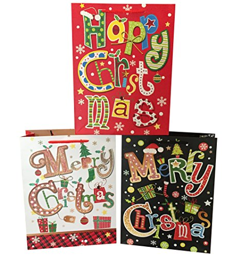 Premium, Sparkly Gift Bags For Wrapping - Set Of 3 Large Christmas Bags - Large 13