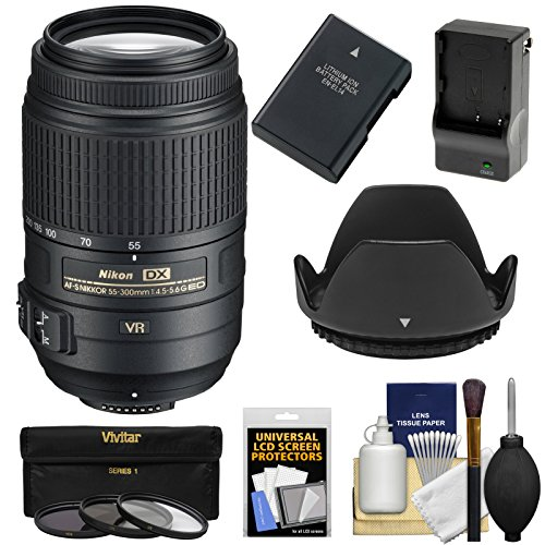 Nikon 55-300mm f/4.5-5.6G VR DX AF-S ED Zoom-Nikkor Lens with EN-EL14 Battery/Charger + 3 Filters + Hood + Kit for D3200, D3300, D5300, D5500 Cameras (Nikon Camera D 3000 compare prices)