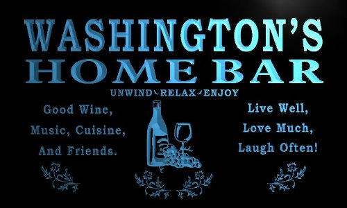 x1090-tm Washington's Home Bar Wine Cave Custom Personalized Name Neon Sign (Wine Cave compare prices)
