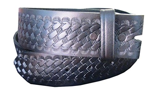 Belt for Buckles 100% Top Grain One Piece Leather Basket Weave Uniform Belt, Made in USA, SIZE M,1304