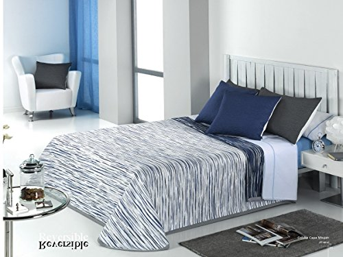 Textilhome Colcha Capa MEGAN - Cama 90cm. Color Azul,