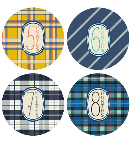 Lucy Darling Shop Monthly Baby Sticker - Baby Boy - Plaid Design - Months 1-12