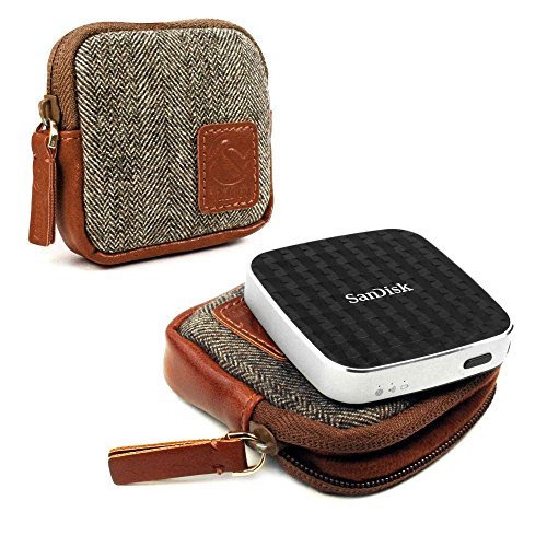 tuff-luv-herringbone-tweed-travel-case-for-sandisk-connect-wireless-media-drive