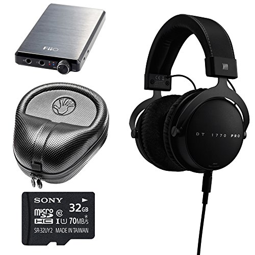 BeyerDynamic-DT-1770-PRO-Headphones-710717-with-FiiO-E12-Portable-USB-Rechargeable-Headphone-High-Fidelity-Amplifier-Sony-32GB-micro-SDHC-Memory-Card-Slappa-HardBody-Full-Sized-Headphone-Case